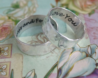 His and hers, wedding ring set, always and forever, rings for two, hammered personalized, inscribed engraved, wedding rings, couples ring
