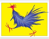 Greeting Card – Blue Rooster