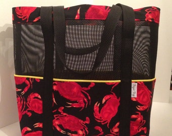 Black beach tote, Beach bag,  pet screen tote bag, Crab bag, market tote, black mesh bag, Black and red bag