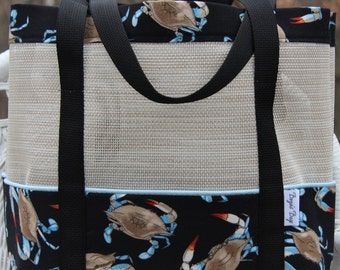 Beach tote, mesh tote, market bag, summer tote,  pet screen bag,  blue crab tote bag