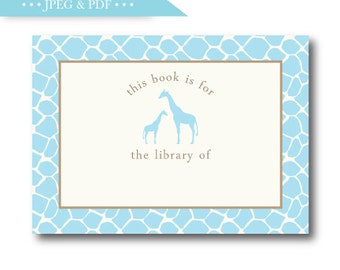 Sweet Blue Giraffe Stock the Library Book Plate Sticker Label - INSTANT DOWNLOAD