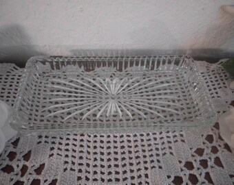 Vintage Pressed Glass Butter Dish Rectangle Crystal Relish Tray Paris French Country Farmhouse Cottage Mid Century Kitchen Home Decor Gift