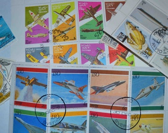 50 Airplane Postage stamps from around the world