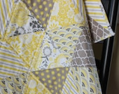 Triangle Quilt - Modern Baby Girl Quilt - Riley Blake Evening Blooms