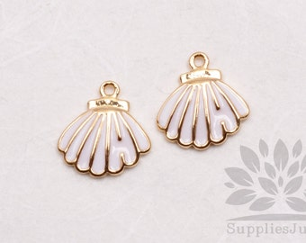 P620-G// Gold Plated White Epoxy Seashell Pendant, 2 pcs