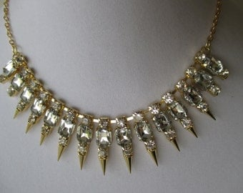 Gold Rhinestone and Spike Statement Piece Necklace