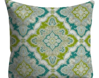 Outdoor Pillows, Blue Turquoise Lime OUTDOOR Pillows, Throw Pillows, Blue Patio Pillows, Outdoor Medallion Pillows, Pillow Covers