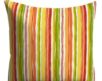 Orange Outdoor Pillows, Decorative Striped Outdoor Pillows,Patio Decor, Outdoor Throw Pillows, Patio Pillows, Pillow Covers, Pool Pillows