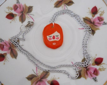 Red Haired Bearded Face Polymer Pendant Necklace