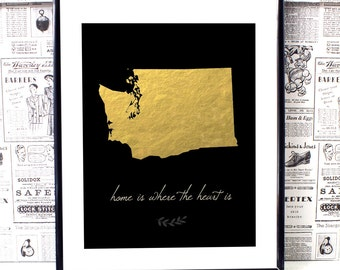Washington State - Washington State Art - Washington State Print - Washington Art - Custom Home Print - New Home Gift - Typographic Print