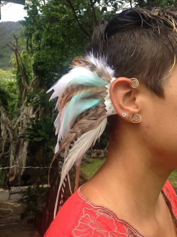 Made to Order: Ginger Snap - Customizable Feather Ear-Wing / ear cuff / ear hawk
