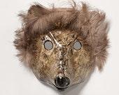 Paper mache hedgehog mask