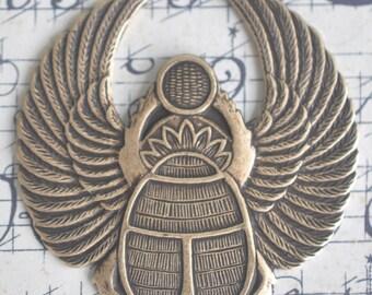 Egyptian scarab brass stamping, Brass Ox