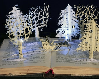 Jingle Bells Christmas card from an altered book sculpture