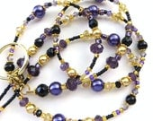 ROYALTY- Beaded ID Lanyard Badge holder- Sparkling Crystals, Pearls, and Gold Plated Beads and Spacers (Magnetic Clasp)