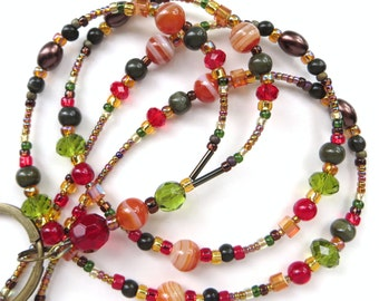 ELEGANT AUTUMN AGATE- Beaded Id Lanyard- Agate Gemstones, Glass Beads, Pearls, Cat's Eye Beads, and Sparkling Crystals (Magnetic Clasp)