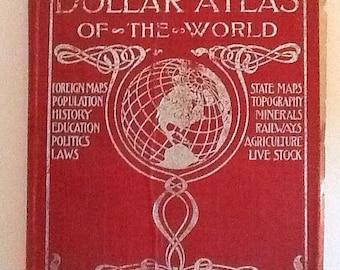 1904 Rand McNally Dollar Atlas of the World: History Hard cover red
