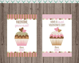 Printable Cupcake Valentine Cards - Custom Valentine Cards