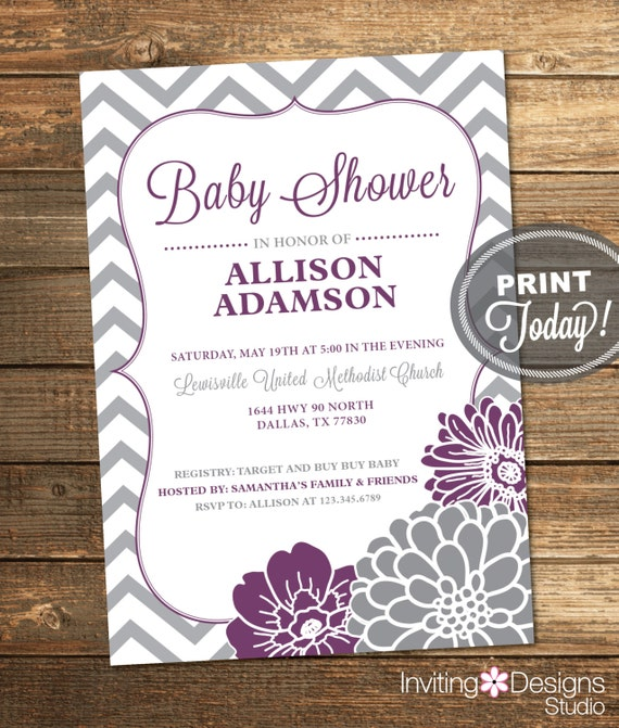 Purple And Gray Baby Shower Invitation By InvitingDesignStudio