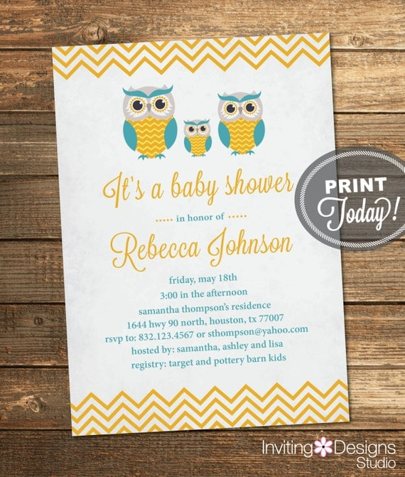 Vintage Owl Baby Shower Invitations: Owl Baby Shower Invitation Neutral Boy Girl Vintage Teal
