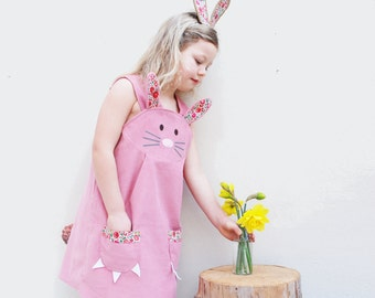 Bunny Rabbit  dress with British Liberty print trim