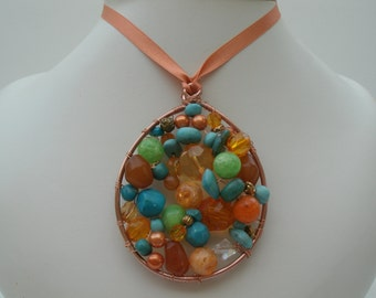 Pendant Necklace in Orange,Turquoise, and Green Colors - Unique Wire and Vintage Bead Handmade  OOAK Fall Winter Necklace