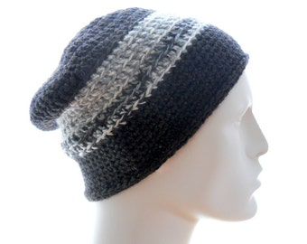 Upcycled Beanie Hat, Wool - Blend Hat, Men's Crochet Hat, Eccentric Stripes Beanie, Medium to Large Size