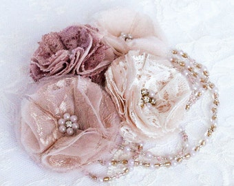 Dusky Pink, Peach and Ivory Lace and Silk Organza Bridal Head Piece Encrusted with Rhinestones and Glass Pearls