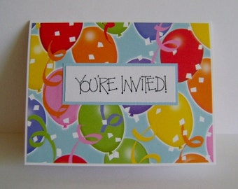 Set of 10 - You're Invited - Party Invitations