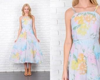 Vintage 70s Blue + Pink Hippie Boho Dress Floral Print maxi XS 4254