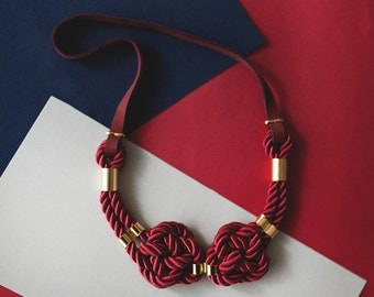 Marsala Nautical Knot  Rope Necklace with leather cord and metal tube by pardes