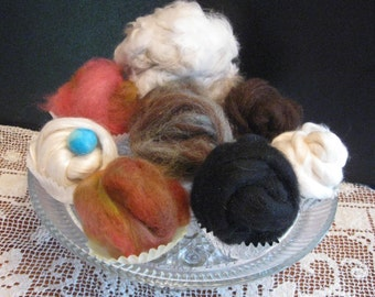 Fiber sampler/Natural Fiber Rolags/Rovings/Small Cupcake Buns of Fiber for Spinning and Felting