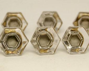Set of eight glass knobs