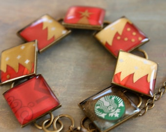 Resin jewelry, Starbucks Bracelets, upcycled, recycled Christmas gift card