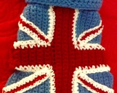 Small crocheted UK flag small pet coat