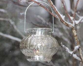 Wedding Candle Holder Tea Light Lantern Mercury Glass Rustic Shabby Chic Weddings Candles Included :)