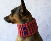 MEDIUM Small Dog Winter Scarf - Neck Warmer - with stars