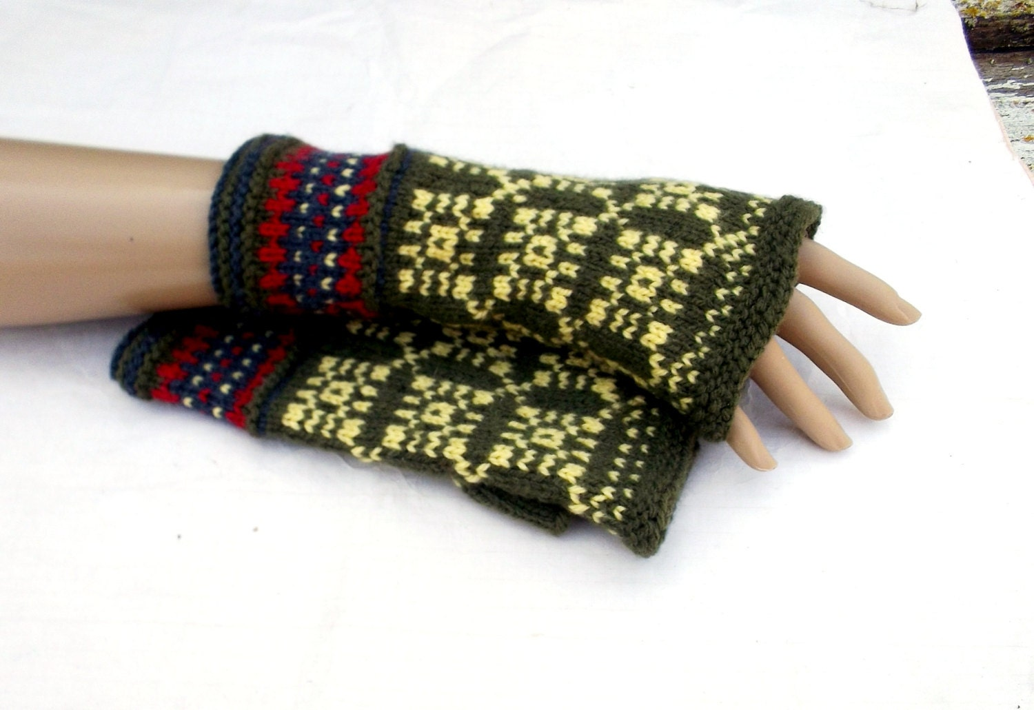 hand knitted fingerless gloves knit green by ...