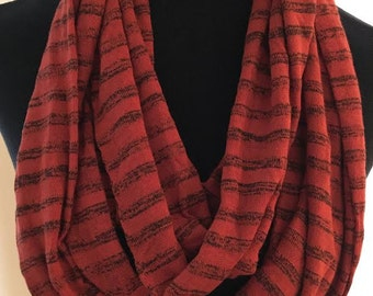 New Burnt Orange/Red and Brown Striped Long Infinity Scarf