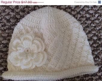 Crochet White Baby Cloche Hat With Flower