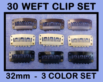 30 Microphone Hair Clips in 3 Colors - Fascinator Clips, Millinery Supply 32mm Comb Clip, Mike Clips
