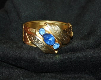 Beautiful Victorian Cuff Bracelet with Blue Stones, Magnificent Center Piece