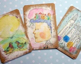 Set of 3 little original illustrations on recycled cardboard-gift tag,jewellry display,eco friendly,ooak