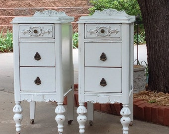 2 Painted Nightstands YOU ORDER. We Find. Antique Nightstands Bedside Tables CUSTOM The Shabby Chic Furniture Victorian Farmhouse