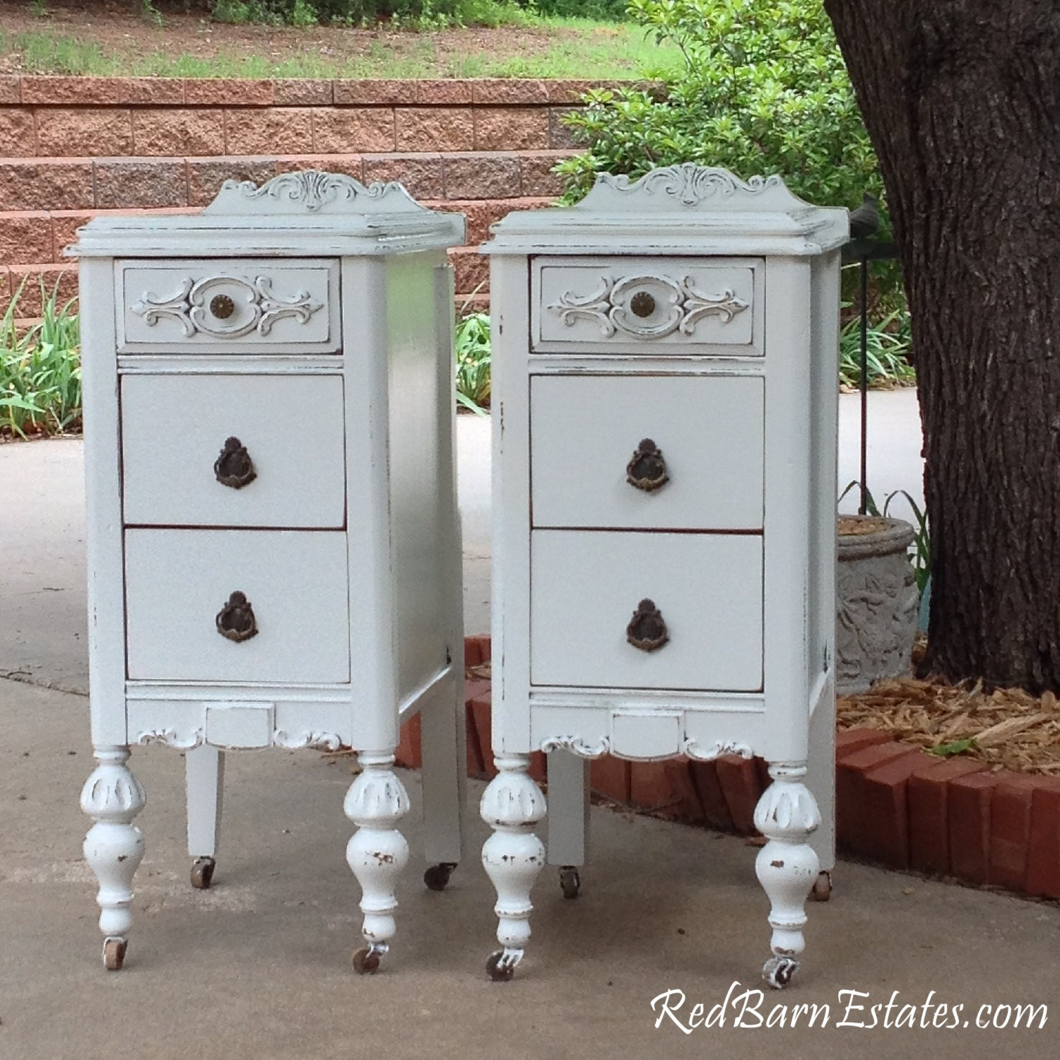 2 painted nightstands you order we find antique nightstands. Black Bedroom Furniture Sets. Home Design Ideas
