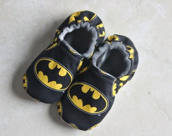 Batman Slippers/Batman Fabric Non-Skid Slippers in ALL SIZES, Youth Slippers, Baby Shoes