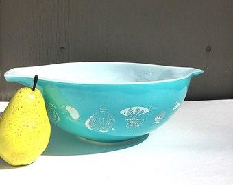 PYREX BALLOONS Bowl | Vintage (c.1958) Balloon Large Cinderella Bowl 444 | Turquoise & White | Rare Promotional Pyrex Pattern | Hard-to-Find
