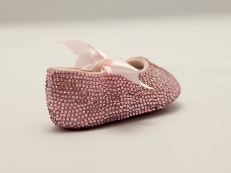 pink baby rhinestone shoes covered with swarovski by