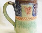 Stoneware 16oz ceramic heart mug 16C096