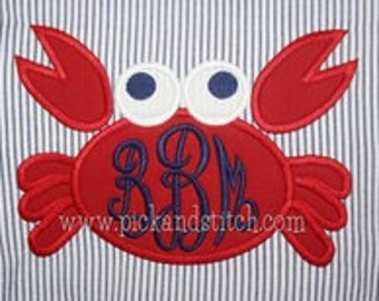 Boy's or Girl's Crab Monogram Applique - Summer Shirt - Monogram Design